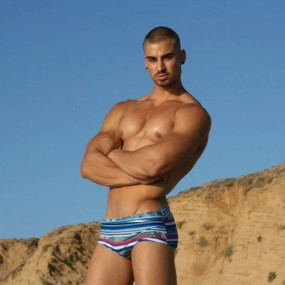 TAD Blue Red White Stripes Swim Briefs Swimwear